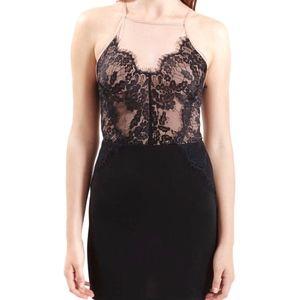 Topshop Petite Black & Nude Contrast Lace Bodycon